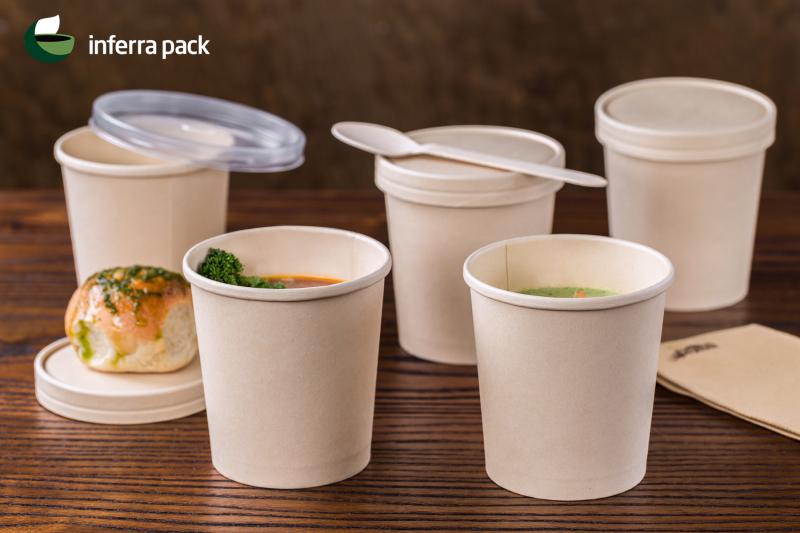 контейнеры бумажные из бамбука для супа и вторых блюд