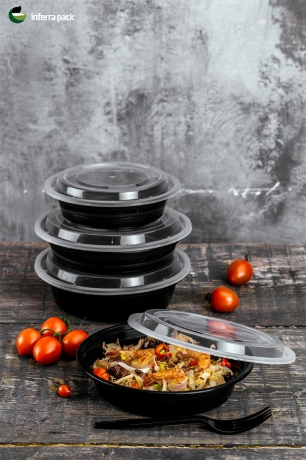 круглые одноразовые контейнеры для разогрева пищи в СВЧ