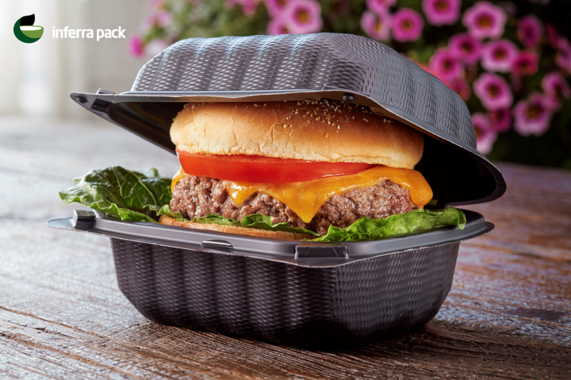 Eco higned lid container for burgers